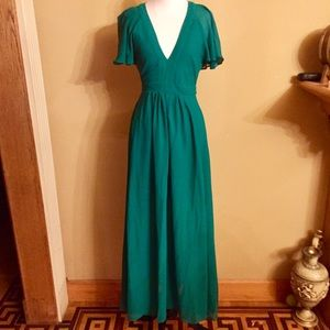 08feedb00f ASOS Dresses - ASOS Green Deep Plunge Ruffle Sleeve Maxi Dress